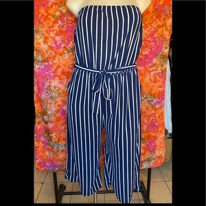 AMBIANCE WHITE & BLUE STRIPE JUMPSUIT❤️